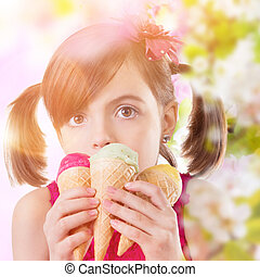 Little cute girl with ice cream, portrait photo