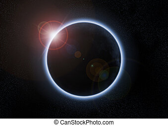 a solar eclipse with the moon between earth and sun - A...