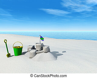 Bucket, spade and sand castle on a beach. - A bucket, spade...