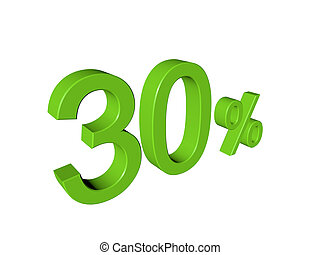 3d number 30 percent on white isolated background