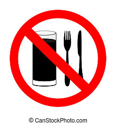 prohibitory sign with food and beverages are not permitted