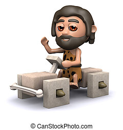 3d Cavemans old car - 3d render of cave man in square...