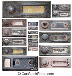 set of the old doorbells - Collection of the old and damaged...