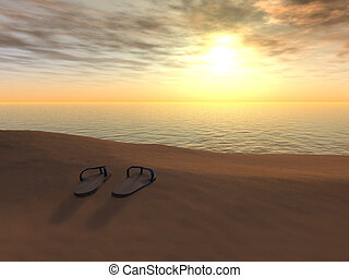 Flip flops on a beach at sunset. - A pair of flip flops on...