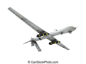 Military Predator Drone isolated on white background 3D...