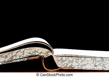 fount of knowledge - Detail of the open old book - a fount...