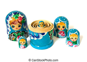 Russian dolls on white background - Russian dolls isolated...