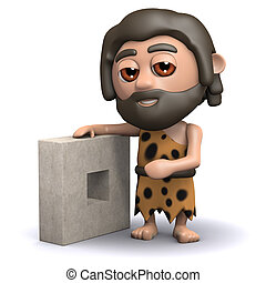3d Caveman has a new invention - 3d render of a caveman with...