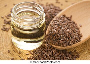 linaza, aceite, lino, semillas, de madera, Plano de fondo