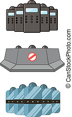Set of police defensive and barricades - Police defensive...