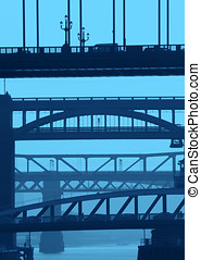 Newcastle bridges in blue - Telephoto view of...
