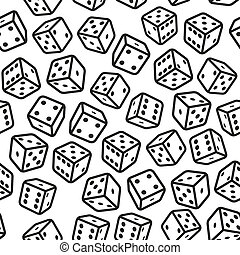 Gambling Dices Seamless Pattern on White Background Vector...