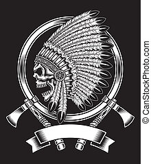 Native American Indian Chief Skull - fully editable vector...