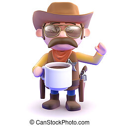 3d Cowboy coffee break - 3d render of a cowboy with a cup of...