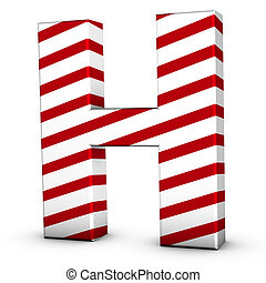 Candy cane letter H isolate on white background