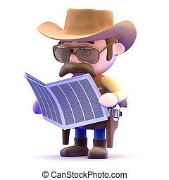 3d Cowboy news - 3d render of a cowboy reading the news