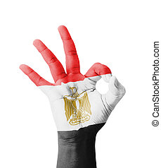 Hand making Ok sign, Egypt flag painted as symbol of best...
