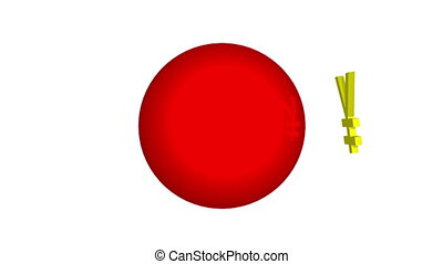 Japanese Yen Red Ball Flag - Three dimensional Japanese Yen...