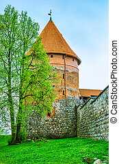 Tower of castle. Trakai, Lithuania - Red brick tower of...