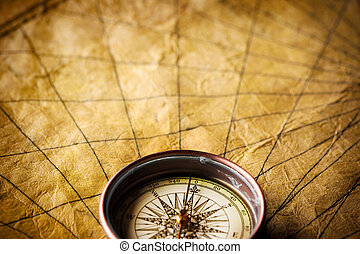 Compass - Close up view of the compass on the old map