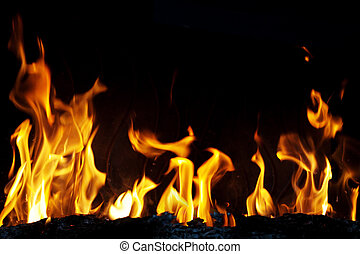 Fire - Close-up of fire and flames on a black background