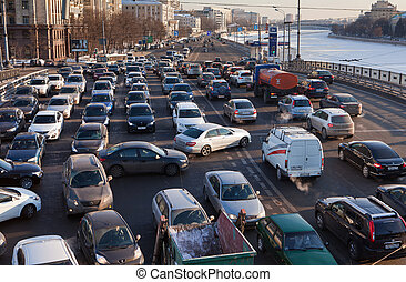 MOSCOW,RUSSIA - - FEBRUARY 8, 2012: Big transport stopper....
