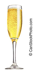 Champagne glasses - view of a full champagne glass on the...