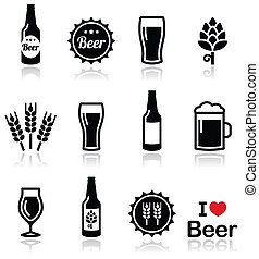 Beer vector icons set - Drinking beer, pub icons set...