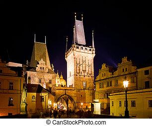 Historical center at night, Prague, Czech Republic