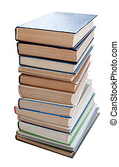Books isolated - Pile of books. Isolated on a white...