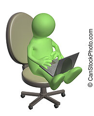 3d puppet, sitting with a laptop