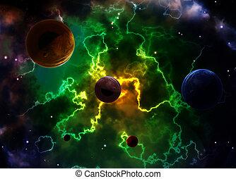 espacio, escena, planetas, nebulosa
