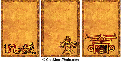 Set of backgrounds with American Indian national patterns