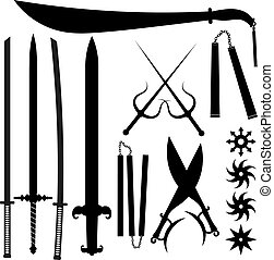 Set of silhouettes bladed weapons