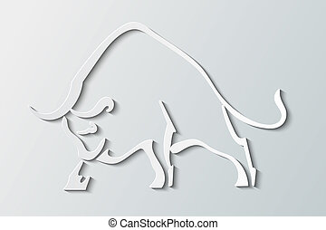 Silhouette wild bull on a gray background