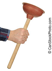Hand with Plunger - Hand holding plunger isolated on white...