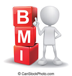 3d illustration of person with word BMI cubes - vector 3d...