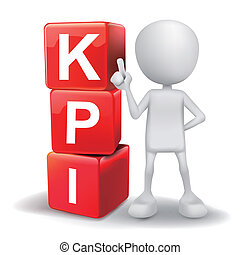 3d illustration of person with word KPI cubes - vector 3d...