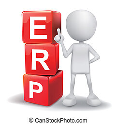 3d illustration of person with word ERP cubes - vector 3d...