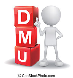 3d illustration of person with word DMU cubes - vector 3d...