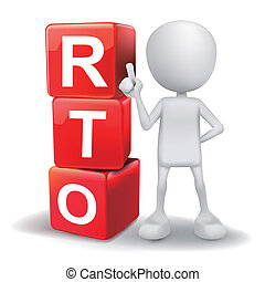 3d illustration of person with word RTO cubes - vector 3d...