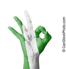 Hand making Ok sign, Nigeria flag painted as symbol of best...