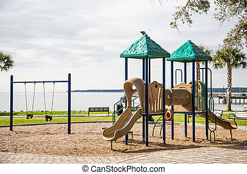 Playground in Park by the Sea