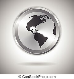 World map on metallic circle element. Vector illustration