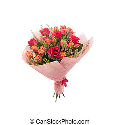 Colorful bouquet pink roses and orange spray roses -...