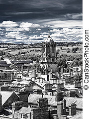 Aerial view of roofs and spires of oxford