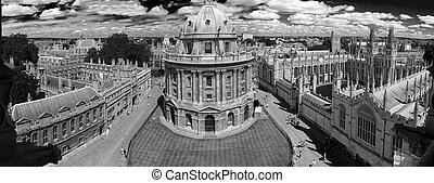 bw photo of panoramic, aerial view of oxford