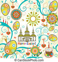 Easter seamless background. Vector illustration.