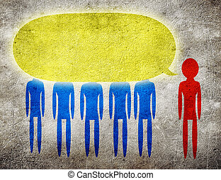 convince - man talking to a group of person