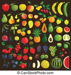 Fruits and Berries - Great collection of the clip art fruits...